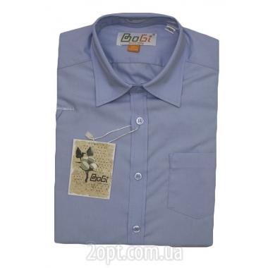 Рубашка классическая, длинный рукав, голубая, 100% хлопок