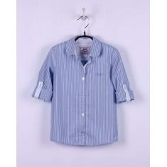 Рубашка для девочки ,голубая, полоска