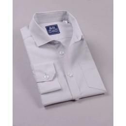 Рубашка для мальчика, длинный рукав, 100% хлопок, светло-серый