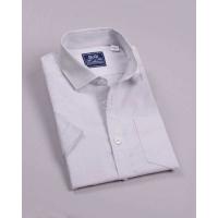 Рубашка для мальчика, короткий рукав, 100% хлопок, светло-серый