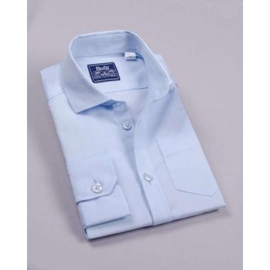 Рубашка для мальчика, короткий рукав, 80% хлопок, нежно-голубой