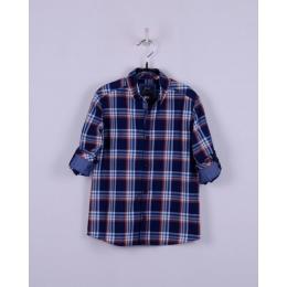 Рубашка casual, синяя в оранжево-голубую клетку