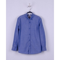 Рубашка для мальчика  60% хлопок, текстура - елочка т-синий