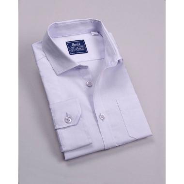Рубашка для мальчика, длинный рукав, 80% хлопок, нежно-сиреневый