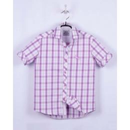 Рубашка, короткий рукав, бело-сиреневая клетка