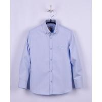 Рубашка для мальчика, длинный рукав, голубая, структурная полоса