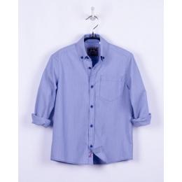 Рубашка для мальчика, длинный рукав, голубая полоса, латки