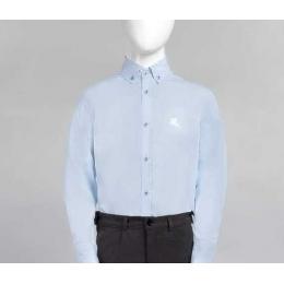 Рубашка для мальчика, 100% хлопок, текстура - елочка голубой