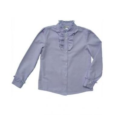 Блуза, длинный рукав, сирень, 100% хлопок