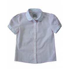 Блуза с коротким рукавом «фонарик»(нежно-розовая полосочка)