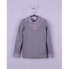 Блуза - обманка, серый меланж