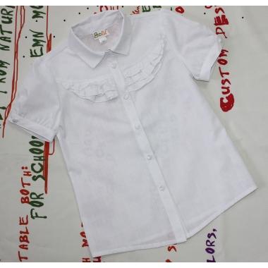 Блуза для девочки, 110-116  (короткий рукав, белая, 100% хлопок)