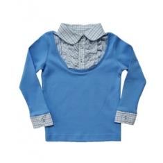 Блуза  ОБМАНКА  для девочки,голубая, ворот белый -клетка