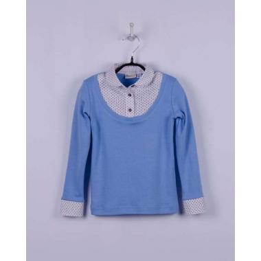 Блуза - ОБМАНКА  для девочки голубая, ворот голубой-белый (гусиная лапка)
