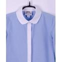 Блузка для девочки, голубая в точечку, 100% хлопок