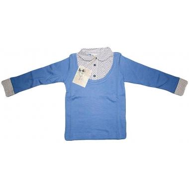 Блуза - обманка, голубая