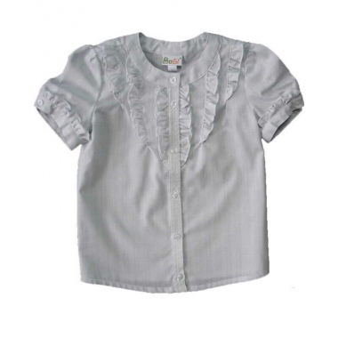 Блуза, короткий рукав, светло-серая, 60% хлопок