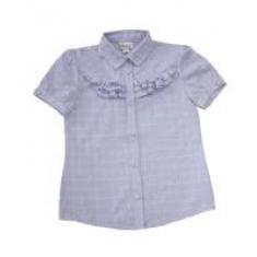 Блуза для девочки, короткий рукав, сиреневая, 80% хлопок