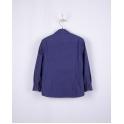 Рубашка с длинным рукавом, синий в оранжевые ромбики, 100% хлопок, 122-146