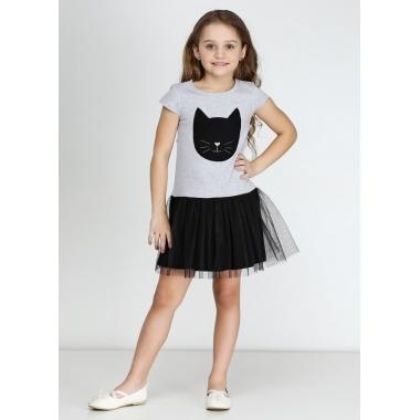 Платье КОТИК, короткий рукав, 100% хлопок