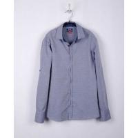 Рубашка для мальчика, серо-синий, 100% хлопок
