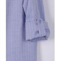 Рубашка для мальчика голубая в фактурную елочку с точечкой