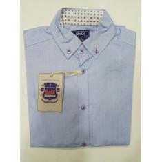 Рубашка для мальчика, длинный рукав,  голубая в точечку, 100% хлопок