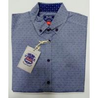 Рубашка для мальчика, длинный рукав,  серая в точечку, 100% хлопок