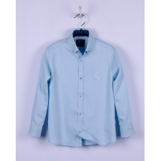Рубашка для мальчика, длинный рукав, мятная диагональ