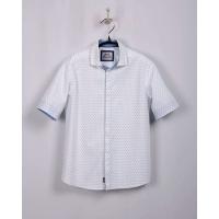 Рубашка для мальчика, короткий рукав, белый, в ромбик