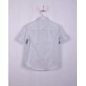 Рубашка с коротким рукавом,  белая в голубую клетку, 100% хлопок