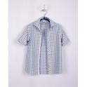 Рубашка с коротким рукавом, бело-голубая-оливковая клетка, 100% хлопок