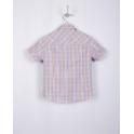 Рубашка с коротким рукавом, сиреневая клетка, 60% хлопок