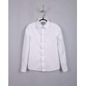 Блуза для девочки, длинный рукав, белый, фактурная ткань в капельку, 100% хлопок