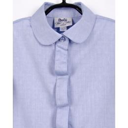 Блуза для девочки, длинный рукав,голубая , фактурная ткань в капельку, 100% хлопок