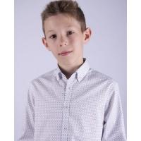 Рубашка для мальчика,белая в кружочек - 100% хлопок